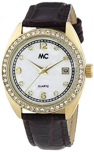 MC Timetrend Damen-Armbanduhr mit Kristallsteinen, Gehaeuse goldfarben, schwarzes Lederband, Analog Quarz 50919