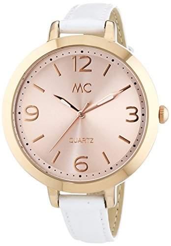 MC Timetrend Damen-Armbanduhr, rosefarben, mit weissem Lederband, Analog Quarz 51296