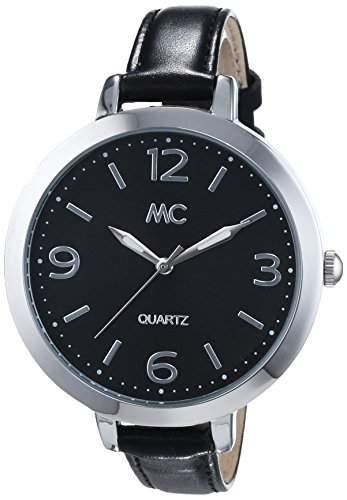 MC Timetrend Damen-Armbanduhr mit schwarzem Zifferblatt und schwarzem Lederband, Analog Quarz 51301