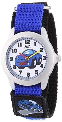 MC Timetrend Kinder-Armbanduhr mit Auto auf Zifferblatt und Textilband blau Analog Quarz 51317