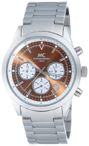 MC Timetrend Herren-Armbanduhr Chronograph mit braunem Zifferblatt, Edelstahlband glanz, Quarz 25704