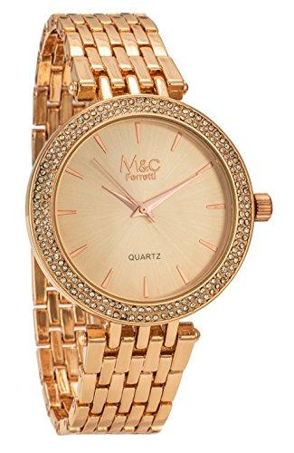 M C Ferretti Damen Classy Rose Gold Metall Armband Strass akzentuierte Luenette ft14101