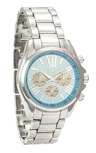 M C Ferretti Damen Silber Chronograph Sky Blau Midi Zifferblatt Armbanduhr ft14501