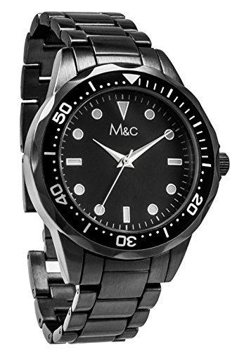 M C Ferretti Herren Gunmetal Tachymeter Zifferblatt schwarz Armbanduhr ft14901