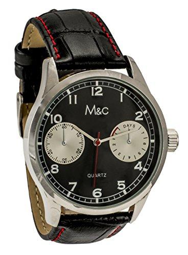 M C Ferretti Herren Silber Schwarz Croc Leder Chronograph Schwarz Zifferblatt Armbanduhr ft14701