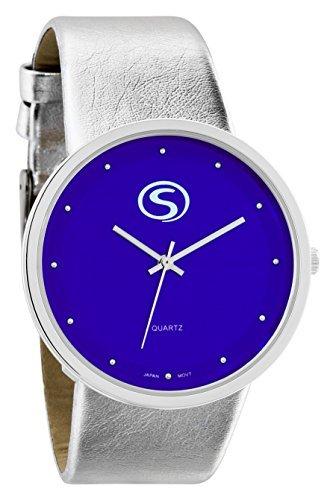M C Unisex Funky minimalistisch gross BLUE FACE Metallic Silber Band Armbanduhr mit japanischem Quarz sn9658bl
