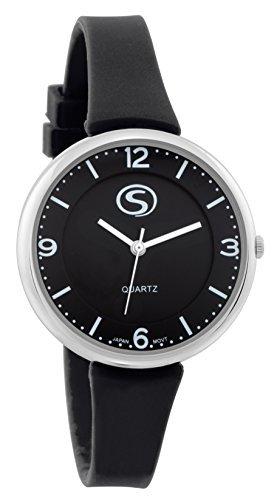 M C Unisex Sporty schwarz Face schwarz Silikon Band Armbanduhr mit japanischem quartz sn9659bk