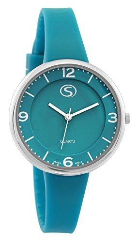 M C Unisex sportliches gruen Gesicht Gruen Silikon Band Armbanduhr mit japanischem Quarz sn9659tl