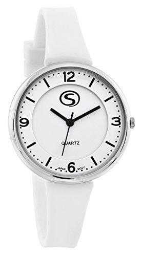 M C Unisex sportliches weiss Gesicht weiss Silikon Band Armbanduhr mit japanischem quartz sn9659wt
