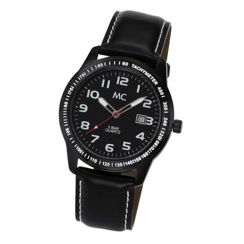MC Timetrend , Herren-Armbanduhr ganz in Schwarz Zifferblatt, Gehaeuse und Lederband Analog Quarz 25545