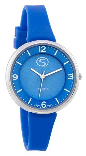 M C Unisex Sporty Blue Face blau Silikon Band Armbanduhr mit japanischem Quarz sn9659lb