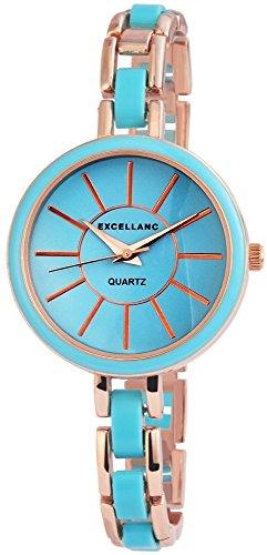 Elegante Blau Gold Analog Metall Armbanduhr Quarz Uhr