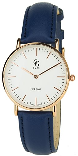 GG LUXE weiss Gold rosa Quarz Gehaeuse Stahl Analog Display Typ Water resist 30M 3ATM Armband Leder blau