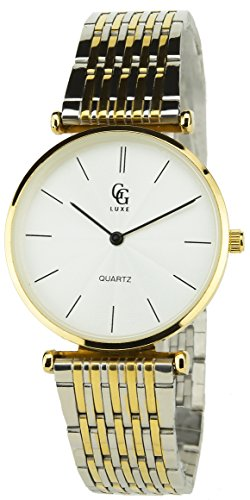 GG LUXE Silber Gold Quarz Gehaeuse Stahl Analog Display Typ Water resist 30M 3ATM Armband Stahl Silber Gold