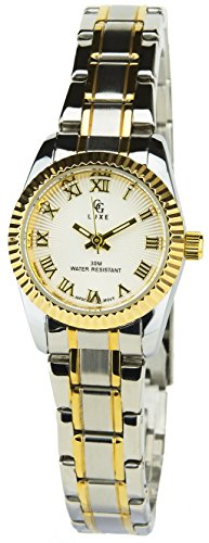 GG LUXE Silber Gold Quarz Gehaeuse Stahl Analog Display Typ Water resist 30M 3ATM Armband Stahl Silber