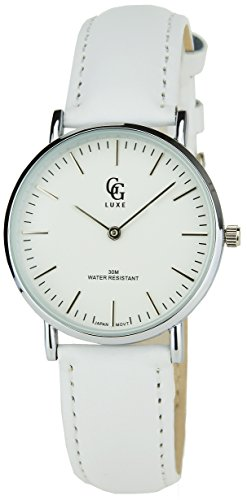GG LUXE weiss Silber Quarz Gehaeuse Stahl Analog Display Typ Water resist 30M 3ATM Armband Leder weiss