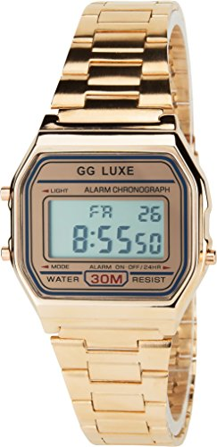GG LUXE Gold Rosa Quarz Stahl Rechteck Alarm Chronometer Licht Anzeige Digital Led Water Resist 3 ATM Sport Armband Gold Rosa Stahl