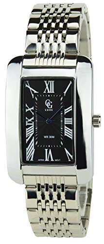 GG LUXE SCHWARZ Quarz Rectangle Stahlgehaeuse Anzeige Analog Water resist 30M 3ATM Armband Stahl SILBER