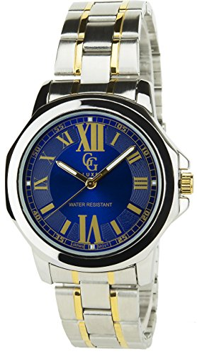 GG LUXE BLAU Quarz Stahlgehaeuse Anzeige Analog Water resist 30M 3ATM Armband Stahl SILBER GOLD