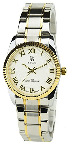 GG LUXE SILBER GOLD Quarz Stahlgehaeuse Anzeige Analog Water resist 30M 3ATM Armband Stahl SILBER GOLD