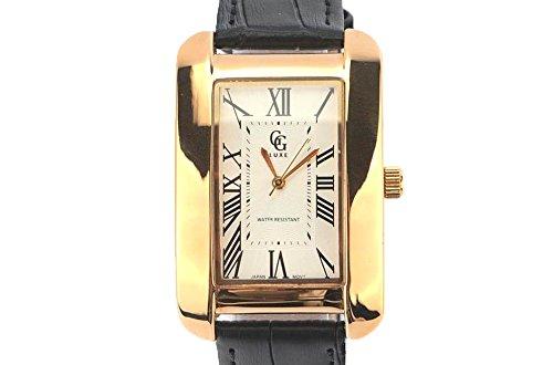GG Luxe Armbanduhr Leder schwarz und Zifferblatt Gold ALANIA