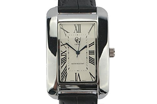 GG Luxe Armbanduhr Leder schwarz und Zifferblatt Stahl ALANIA