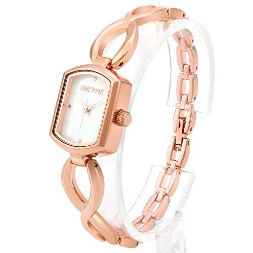 Dictac mit ausgehoeltem Edelsatahl Armband Armkette Perle Fritillaria Zifferblatt elegante Damen Frauen Maedchen Uhr RoseGold