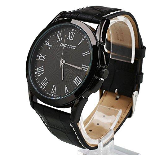 Dictac Legierung Herren Armbanduhr mit echtem Leder Armband japanischen Bewegung ROHS Zertifizierung 30 Meter wasserdichte Sport Uhr beilaeufige Uhr
