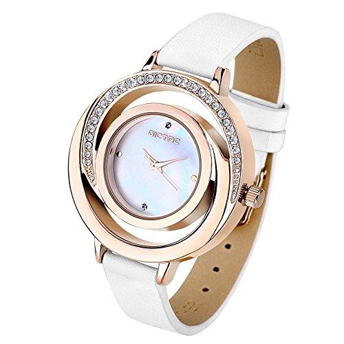 Dictac Damen Armbanduhr mit echtem Leder Uhrenarmband hoeltes Perle Fritillaria Zifferblatt Swarovski Kristall Diamant elegante Uhr