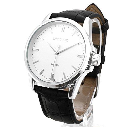 Dictac Herren Legierung Armbanduhr mit echtem Schwarz Leder Uhrenarmband Lederarmbanduhr japanischen Bewegung 30 Meter wasserdichte