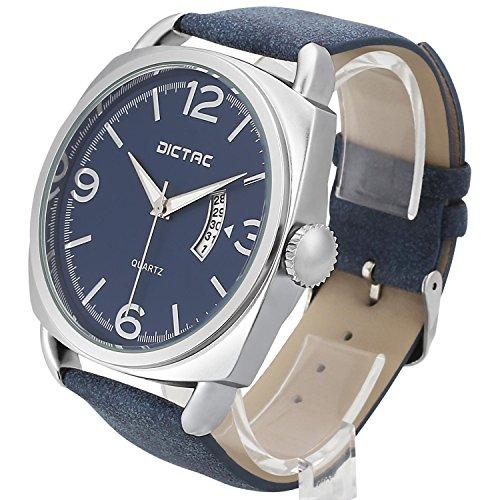 DICTAC Uhr Maenner japanisches Quarzwerk Leder Armband Quadrat Uhr mit Kalender und leuchtender Zeiger Blau