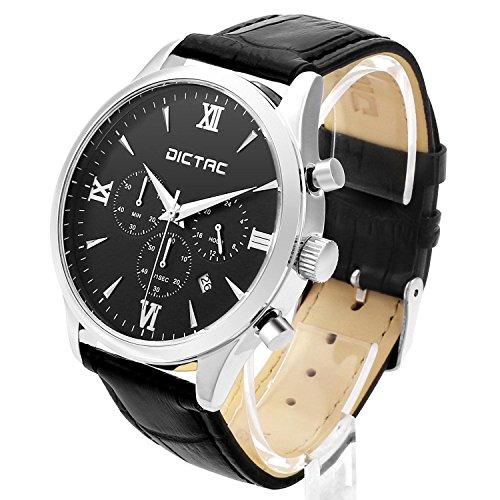 DICTAC Multifunktionale Klassische Armbanduhr Analog mit Datum Weicher Lederband schwarz