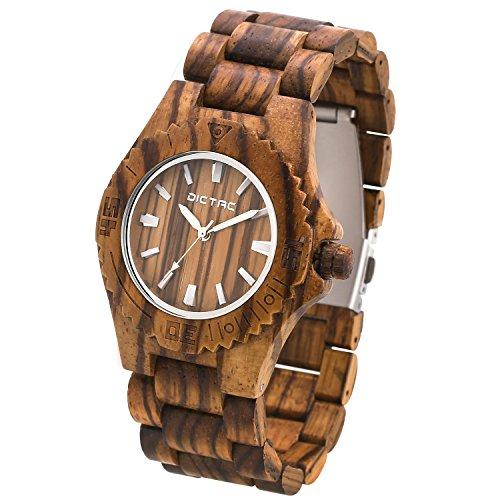 Dictac Handgemachte Zebraholz Armbanduhren mit importierter Japanische 2035 Bewegung Luxury Natur Zebra Holz Armbanduhr einstellbarem Holz Armband Geschenk Gift
