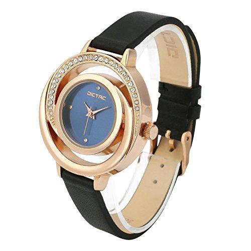 Dictac Legierung Damen Armbanduhr mit echtem Leder Armband hoeltes Gold Zifferblatt Swarovski Kristalldiamanten japanische Bewegung ROHS Zertifizierung 30 Meter wasserdichte RoseGold