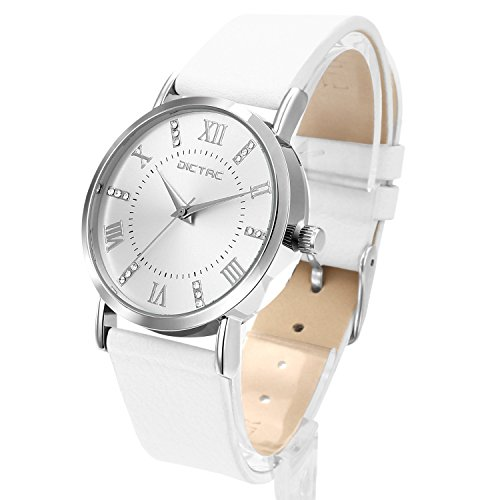 Dictac Legierung Armbanduhr mit Swarovski Kristall echtem Leder Armband japanischen Bewegung ROHS Zertifizierung 30 Meter wasserdichte elegante Uhr fuer Maedchen Damen bestes Geschenk