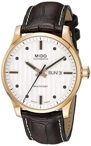 Mido Herren-Armbanduhr XL Multifort Analog Automatik Leder M0054303603180