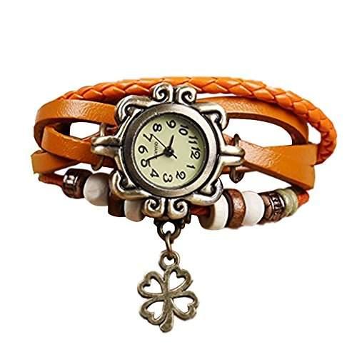 Minetom Retro Vintage Klee Design Damen Leder Armbanduhr Armreif Armkette Armband Uhr Anhaenger Spangenuhr Quarzuhren Orange