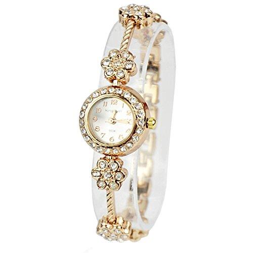 Minetom Quartzuhr Crystal Plum Blossom Armband Rosa Golden Watch