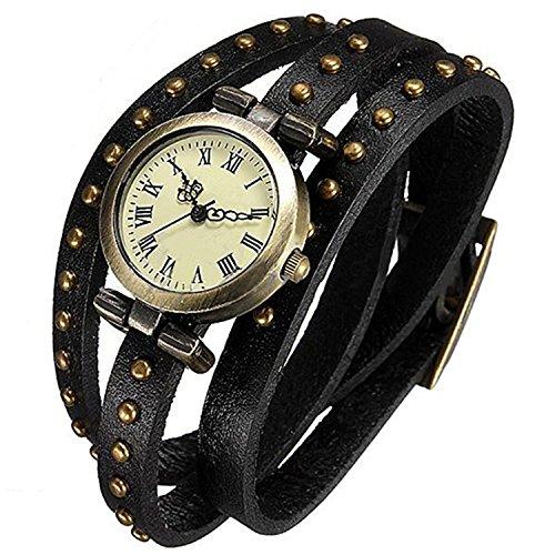 Minetom Damen Retro Leder Armbanduhr Quarzuhr Armreif Leder Armbanduhr Uhr Schwarz