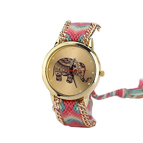 Minetom Damenmode Elefant Muster Gewebte Seil Armband Band Top Watch Ladies Dress Analog Quarz