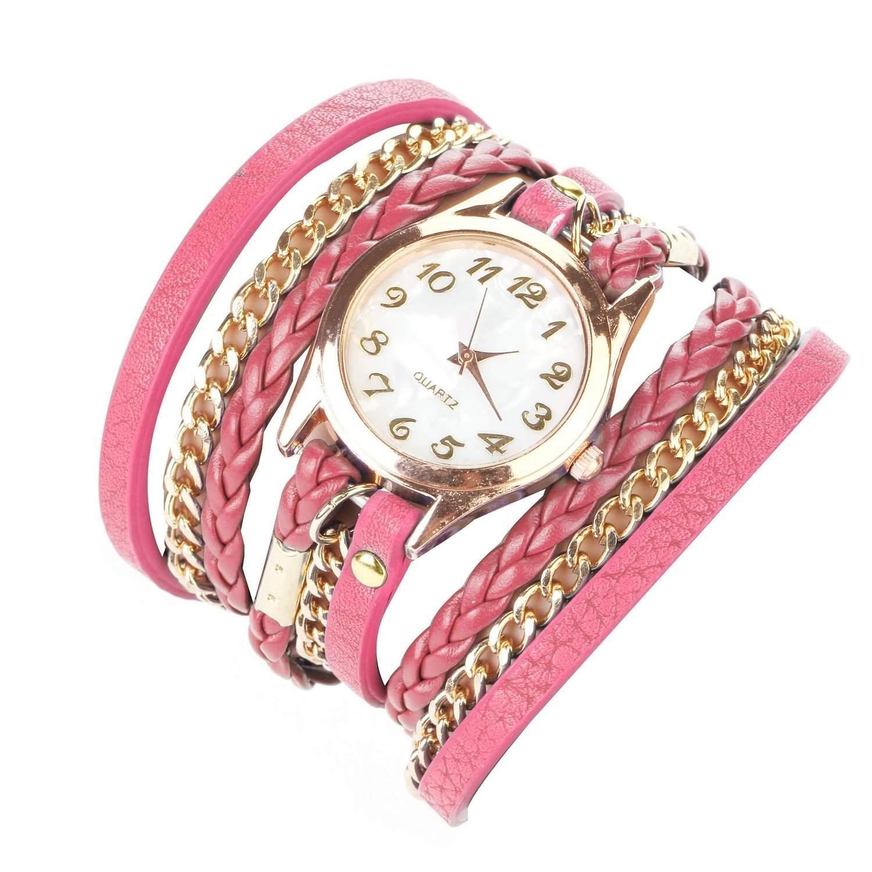 Minetom Retro Frauen Dame Girl Fashion Runden Zifferblatt Leder Armband Dekoration Niet Quarz Armbanduhr Pink