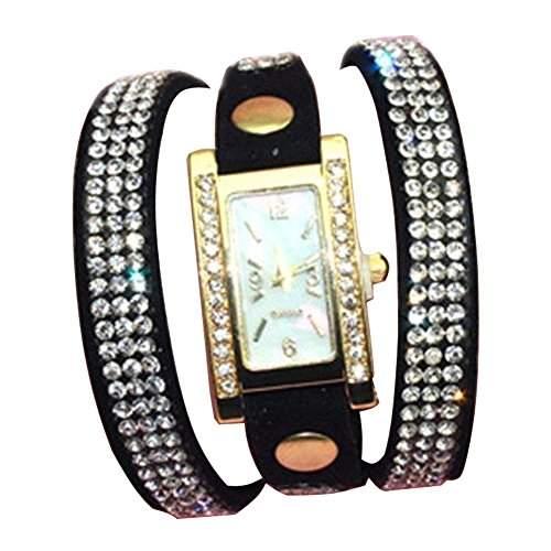 Minetom Frauen Mode Strass Armband Dekoration Quarz Analog Uhr Wrist Watch Schwarz