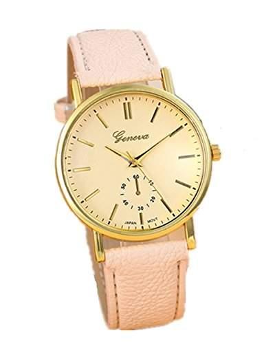 Minetom Mode Strass Runden Zifferblatt Leder Armband Dekoration Quarz Analog Uhr Wrist Watch Unisex Beige