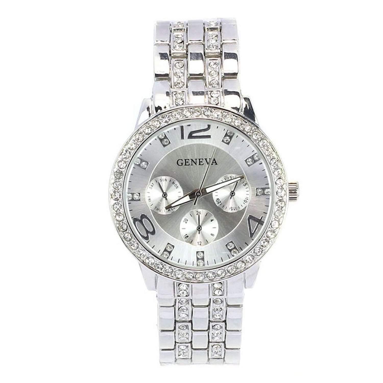Minetom Frauen Dame Girl Luxus Kristall Strass Runde Zifferblatt Armbanduhr Quarz Analog Uhr Wrist Watch