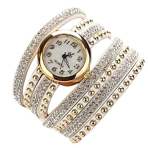 Minetom Damenmode Gewebte Seil Armband Band Rivet Uhr Runde Quarz Armbanduhr