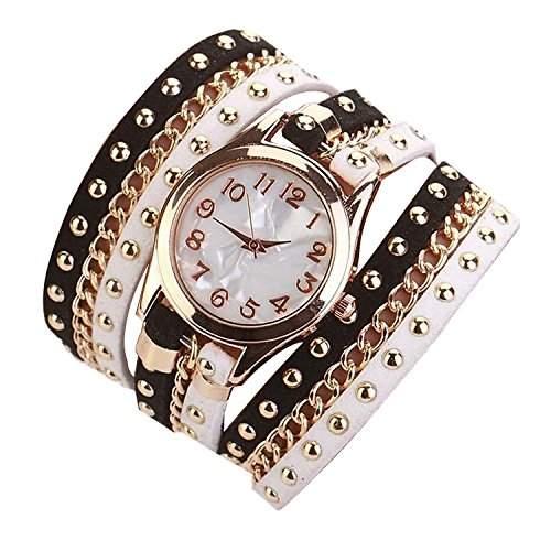Minetom Damenmode Gewebte Seil Armband Niet-Armband Kristall Runde Quarz Armbanduhr Wristwatch Schwarz-Weiss