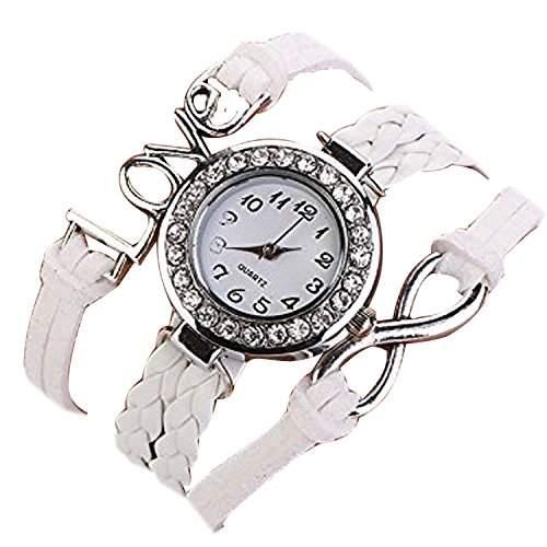 Minetom Vintage Leder Ketten Liebe Unendlichkeit Quarz Armbanduhr Lederarmband Uhr Top Watch Weiss