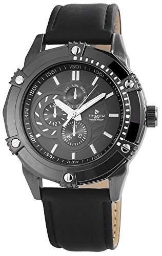 Timento Analog Damen Herrenuhr Herren Unisex Uhr Armbanduhr Anthrazit Schwarz