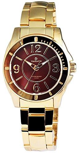 Quarz Uhr Armbanduhr mit Edelstahlarmband Dunkelbraun 510007000019