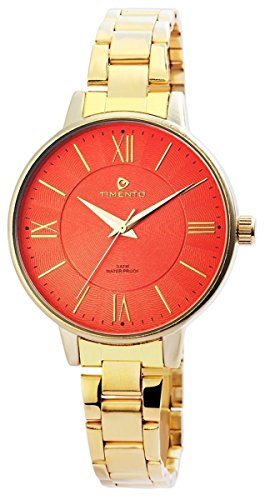 Timento Analog Damenuhr Edelstahl 38 mm Gold Orange 510005800026